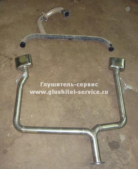 Разведение выхлопной трубы Kia Sorento на 2 стороны от www.glushitel-service.ru