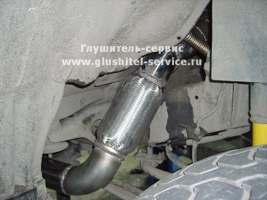Гофра глушителя 76 мм на Toyota Land cruiser 80, выпуск под порог. glushitel-service.ru