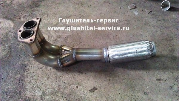 Приемная труба из ержавеющей стали на MMC Galant от www.glushitel-service.ru
