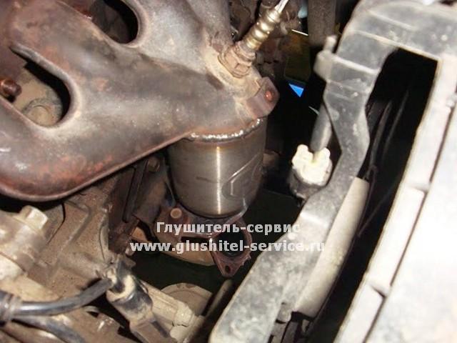 Замена катализатора в коллекторе на пламегаситель на MMC Lancer 9 в www.glushitel-service.ru